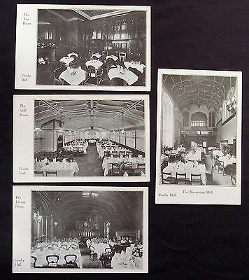 Crosby Hall London England lot of 4 antique printed postcards interior views