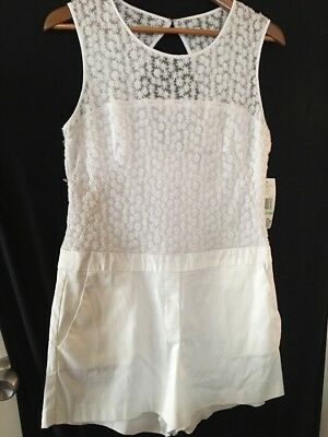 White Womens One Piece Shorts Jumpsuit Size 8