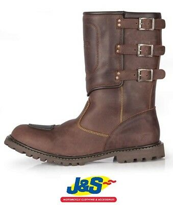 Spada Foundry WP Motorcycle Boots Motorbike Waterproof Retro Cruiser Brown J&S