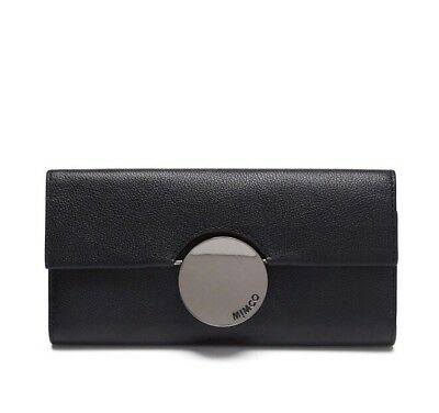 New Mimco Waver Large Cow Leather Flap Open Wallet Gunmetal In Black PPR$199