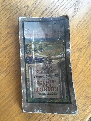 vintage cloth ordnance survey map of the country round london