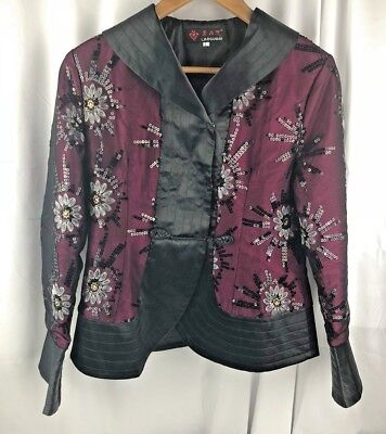 RARE Asian LAOGUDAI SILKY CREPE ORIENTAL FITTED DRESSY BELL SLEEVE JACKET / L