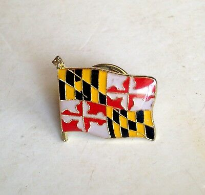 MARYLAND STATE FLAG Lapel Pin Pinback * Vintage * Combine Shipping!