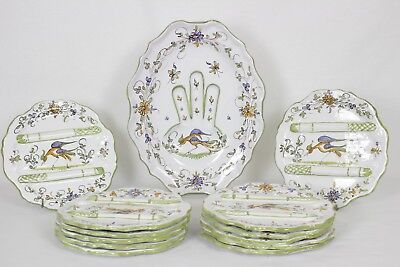 French Asparagus Plates and Serving Platter by Martres Tolosane