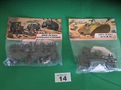 AIRFIX OO SCALE MODEL KIT 25 PDR.Gun and Limber And DUKW   Vintage Lot 14