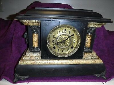 antique seth thomas/ingraham adamantine mantle clock for repair working