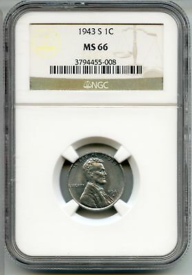 1943-S Lincoln Wheat Cent Penny NGC MS 66 Certified - San Francisco Mint AQ398