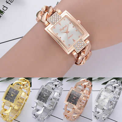 Ladies Womens Crystal Luxury Stainless Steel Watch Quartz Bracelet Wrist Watches