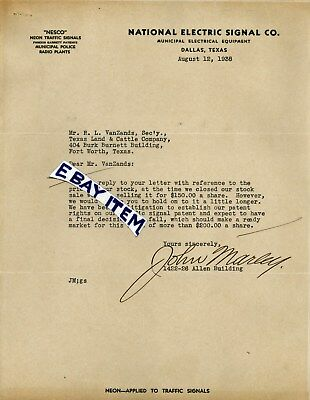 1938 DALLAS TEXAS letterhead NESCO NATIONAL ELECTRIC SIGNAL COMPANY John Marley