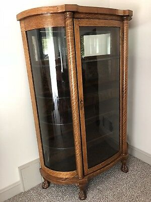 Antique Oak Curved Glass China Cabinet W/paw Feet U0026 Mirrored Back Panel