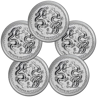 Lot of 5 -2018 Niue 1 oz Silver Double Dragon Pearl of Wisdom $2 Gem BU SKU53654