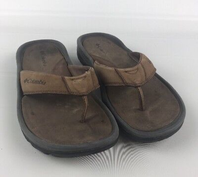 a34c05ee790 Columbia Men s Size 11 Tango Thong Flip Flops Tan Leather Comfy Anti-odor  Shoes