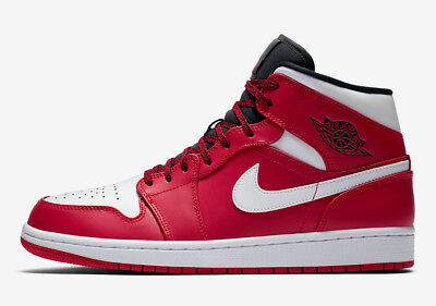 "New Men's Air Jordan 1 Mid ""Chicago"" Retro Shoes (554724-605)  Gym Red / White"