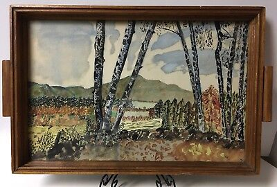 1950 Hand Painted Art Under Glass Wood Serving Tray~SIGNED E.F.S~Trees & Mtns