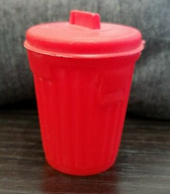Vintage 1970s Topps Garbage Can Candy Trash Red Plastic Container