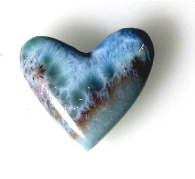 Exquisite Sky Blue Green Red Larimar Heart Cabochon 25x28x6mm 6.5g