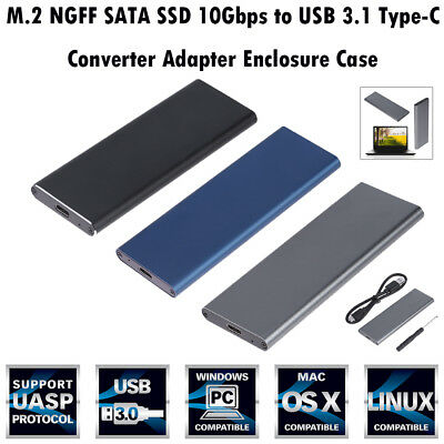 4TB M.2 NGFF SATA SSD 10Gbps to USB 3.1 Type-C Converter Adapter Enclosure Case
