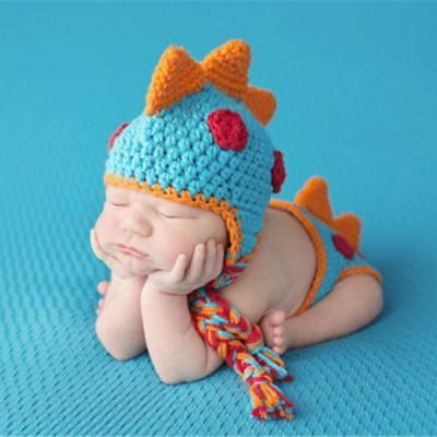 Newborn Photography Props Cute Dinosaur Shape Baby Crochet Knitted Hat with Shor