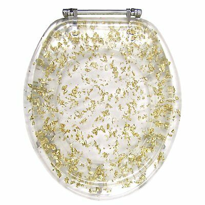 ELONGATED IVORY SEASHELL AND SEAHORSE RESIN TOILET SEAT CHROME HINGES