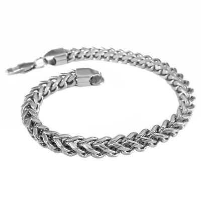 "8.66"" Heavy Stainless Steel Curb Wheat Chain Link Bracelet Womens Bangle Silver"