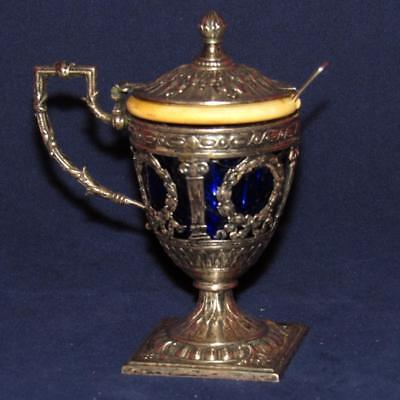 ​intricate Antique Victorian Sterling Silver & Cobalt Blue Glass Mustard Jar W/