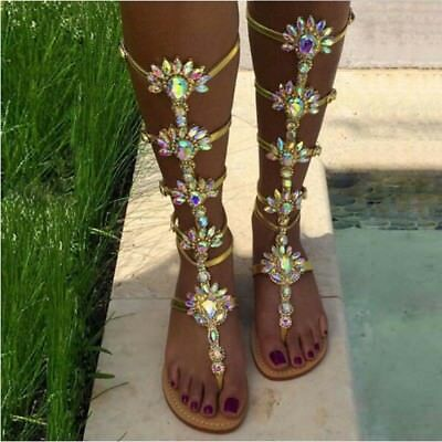 Women s Roman Rhinestone Gladiator Sandals Strap Flat Flip Flop Beach Shoes  Gold
