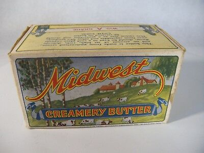 Vintage Midwest Creamery Butter Box Advertisement Ad Plymouth, WI Cows and Farm