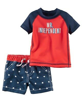 New Carter's 2 Piece Boys Swimsuit Set Top & Trunks NWT 18m July 4th American