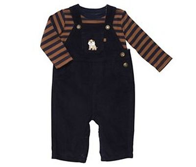 New Carter's Puppy Dog Navy Blue Corduroy Overalls & Striped Top size 9m NWT