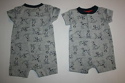 New Gymboree Gray Puppy One Piece Romper Size 0-3 Months NWT Gazebo Party Line
