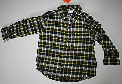 New Gymboree Woodland Party Line Yellow Check Plaid Flannel Shirt size 18-24 NWT