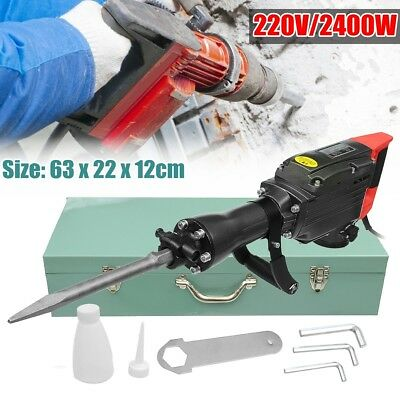 2400W Electric Demolition Jack Hammer 1400RPM Concrete Breaker Chisels Case New