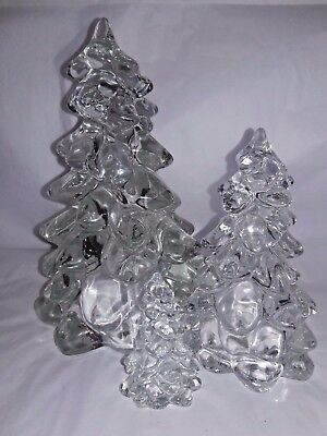 "SET Lot of MOSSER CRYSTAL CHRISTMAS TREES Sm (2.75"") Med (5.5"") Lg (8"") USA MADE"