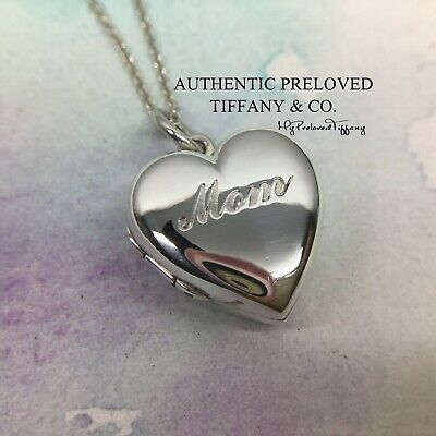 Authentic Excellent Tiffany & Co Notes Mom Heart Locket Small Silver Necklace