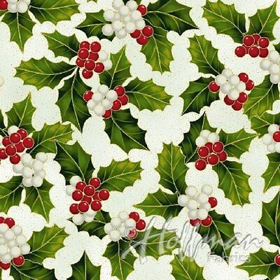 Clearance Sale~Poinsettia Song~Holly & Berries-Ivory/Gold Christmas Cotton Fabri