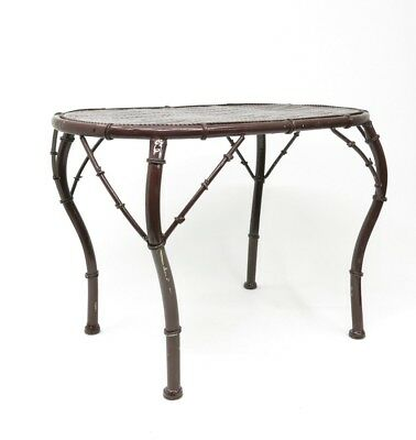 Vintage Faux Bamboo Curvy Leg Painted Metal End Table Coffee Table Outdoor