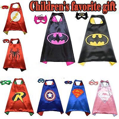 NEW Children Superhero Cape Comic Book HeroCostume Mask  Fancy Dress Outfit Kids