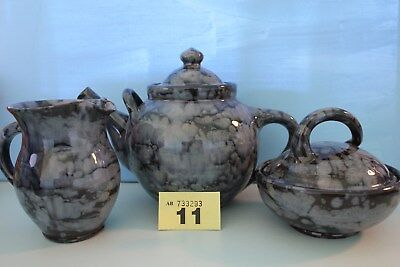 Ewenny Studio Pottery Tea Pot, Milk Jug And Sugar Bowl