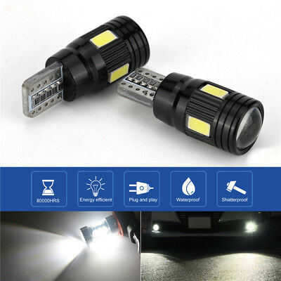 2pcs T10 6000K High Power White LED Daytime Fog Lights Bulb License Plate Light