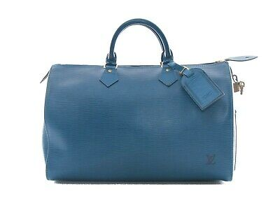 Authentic Louis Vuitton Toledo Blue Epi leather Speedy 35