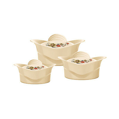 Insulated Serving Dishes-3pc Thermal Hot Food Containers Set 2.5, 3.5 &5L, Beige