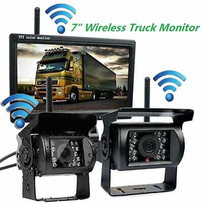 "Wireless 7"" LCD Monitor+2 x Rear View Reversing Camera Kits For Car Bus Truck UK"
