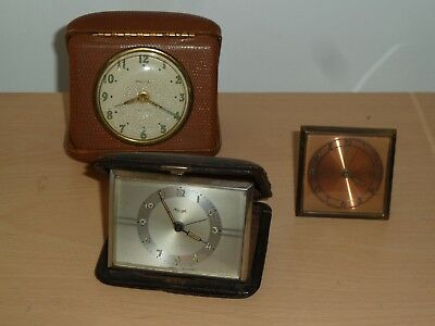 Three vintage travel clocks for spares Kienzle Bradley