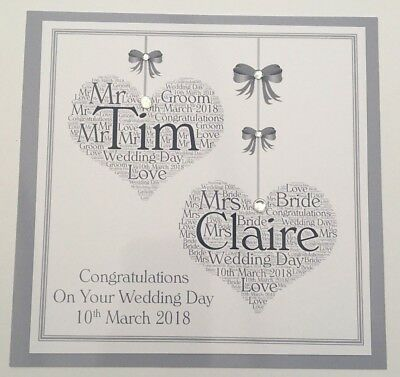 Personalised Handmade Wedding Day Card Two Hearts