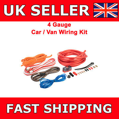 4 AWG Gauge Power Ground RCA Fuse Amplifier Wiring Kit For Car Van Sub Amp