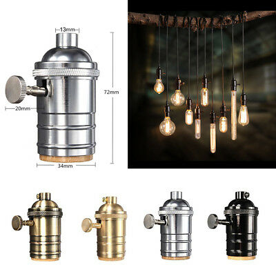 Industrial Vintage Pendant Lamp Brass Copper Light Socket 4 Finishes 2 way Knob