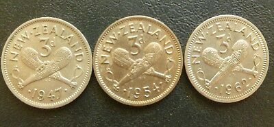 New Zealand Threepences (3) 1947 - 1954 - 1962. Good Condition Coins