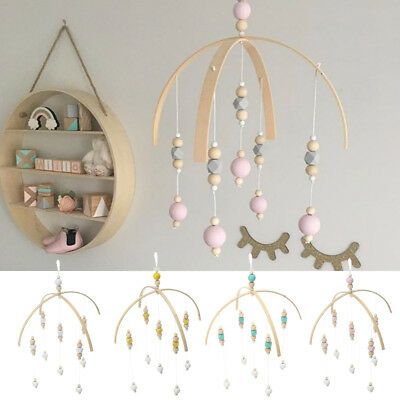 DIY Nursery Rotary Baby Mobile Crib Bed Toy Wind-up Wooden Beads Bell Holder Arm