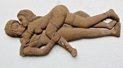 Unique Beautiful Hand Carved Wooden Gothic Nude Lovers Sculpture Carving