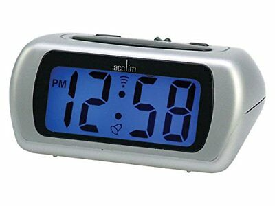 Acctim Auric Digital Display LCD Alarm Clock (12340) SILVER With Snooze/Light